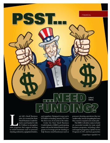 Psst...Need Funding? (April 2011) - Cleaner Times Magazine
