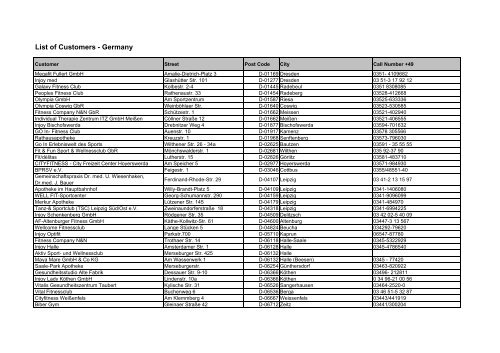 List of Customers - Germany - ScienceTech