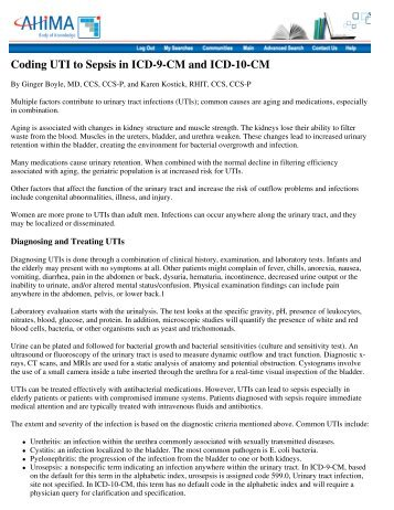 Coding UTI to Sepsis in ICD-9-CM and ICD-10-CM - Tacoma ...
