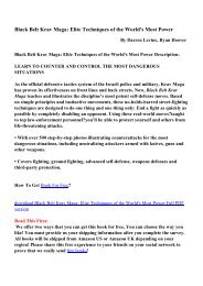 Black Belt Krav Maga: Elite Techniques of the World's Most Power