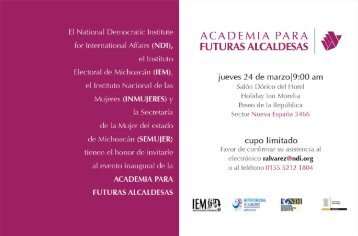 El National Democratic Institute - Instituto Electoral de Michoacán