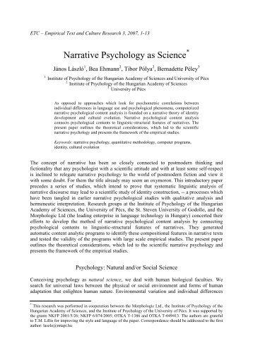 LASZLO et. al (2007) Narrative Psychology as Science