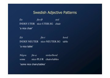 Swedish Adjective Patterns