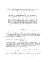 EQUIDIMENSIONALITY OF CONVOLUTION MORPHISMS AND ...