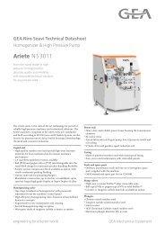 GEA Niro Soavi Ariete NS3011 Tech Sheets ENG Rev05 2012