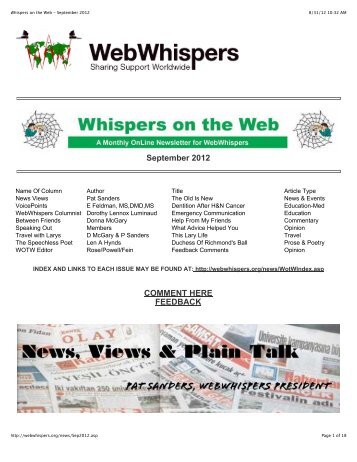 Whispers on the Web - September 2012 - WebWhispers Nu-Voice ...