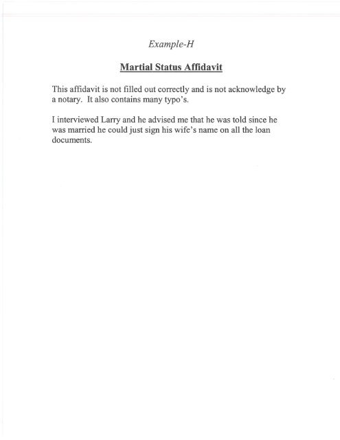 Marital Status Affidavit example pdf