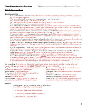 Honors Physics Second Semester Exam Study Packet 1. What ...