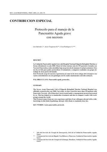Protocolo para el manejo de la Pancreatitis Aguda grave con - SciELO