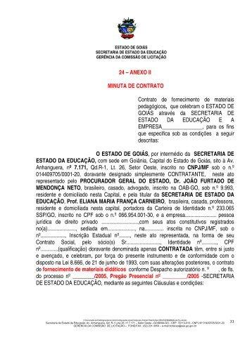 24 – ANEXO II MINUTA DE CONTRATO Contrato de fornecimento ...