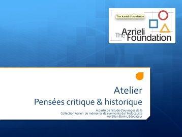 Pensées critiques et historiques