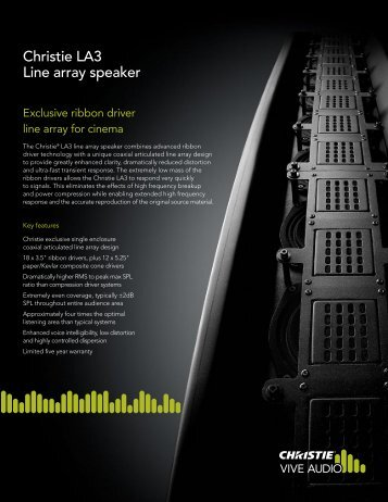 LA3 Datasheet - Christie Digital Systems