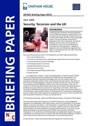Terrorism and Community Resilience - A UK Perspective - Bill Durodie