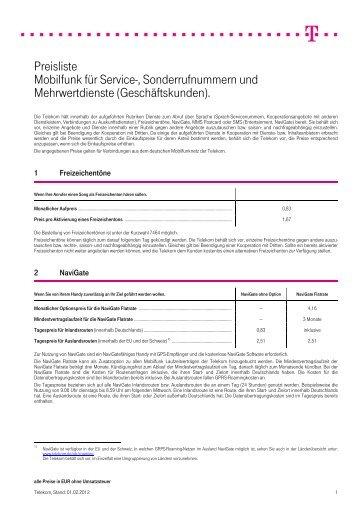 Preisliste Mobilfunk für Service ... - Deutsche Telekom