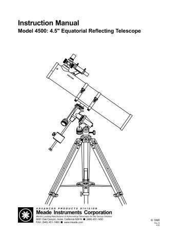 Orion StarBlast 4.5 Equatorial Reflector Telescope Manual