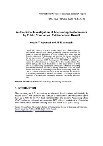 An Empirical Investigation of Accounting Restatements by Public ...