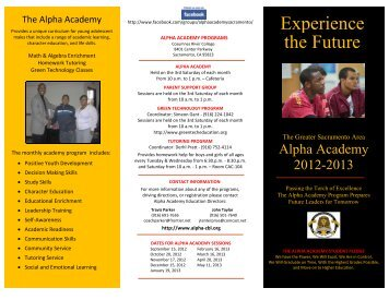 The Alpha Academy Brochure - Elk Grove Unified School District