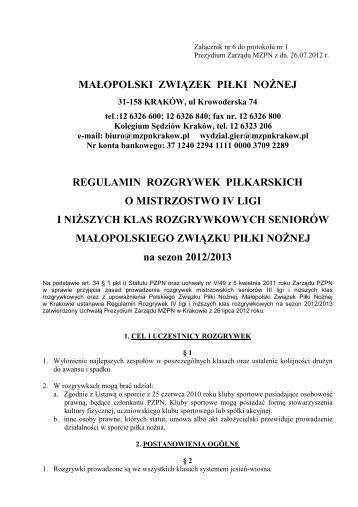 Regulamin rozgrywek IV ligi i klas niższych w sezonie 2012/2013