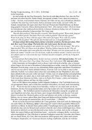 Predigt zum Ewigkeitssonntag, 20.11.2011, Pfr. Pohl
