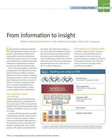 evolving from information to insight A forrester consulting thought leadership paper commissioned by sap november 2015 evolve your business intelligence to systems of insight.