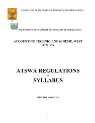 Atswa regulations syllabus - The Institute of Chartered Accountants ...