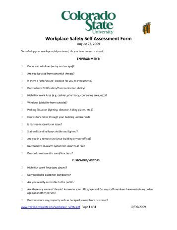Fire Safety Order  Fire Safety Self Assessment Form