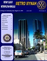October 27, 2011 - Rotary Club of Metropolitan Honolulu