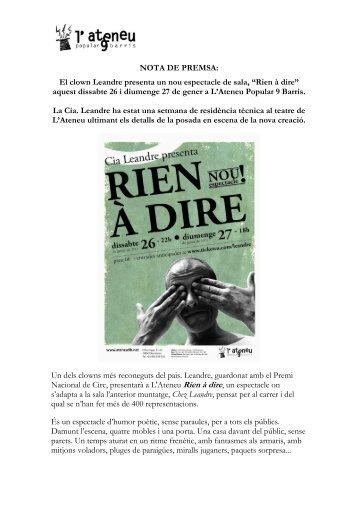 Nota de premsa presentació Rien à dire a - Ateneu Popular 9 Barris