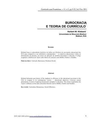 BUROCRACIA E TEORIA DE CURRÍCULO - Currículo sem Fronteiras