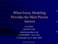 When Fuzzy Modeling Provides the Most Precise ... - INFORMS NY