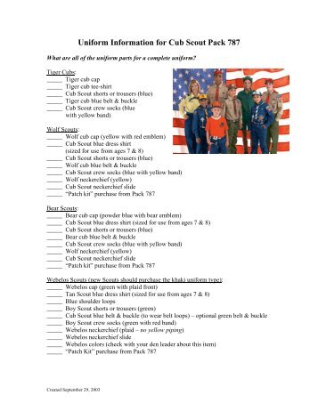 Uniform Guide For Webelos Scout Shop