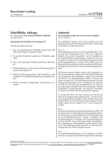 Schriftliche Anfrage Antwort - Bayerischer Landtag