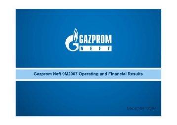 9M 2007 Gazprom Neft Results