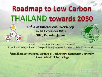 Thailand (1) Roadmap to Low Carbon Thailand towards 2050