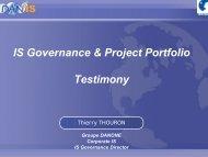 IS Governance & Project Portfolio Testimony - Cigref