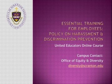 Essential Training for Employees Policy on Sexual Harassment ...