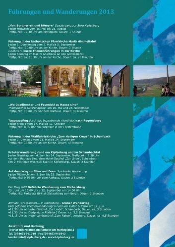 Führungen und Wanderungen 2013 - Kipfenberg in Bayerns Mitte