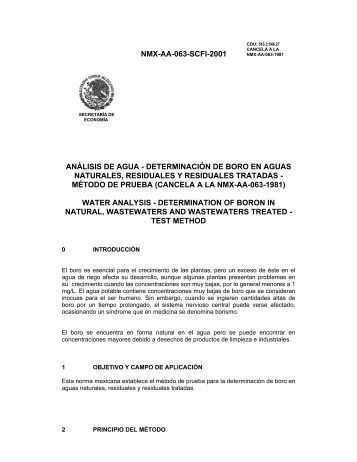 NMX-AA-063-SCFI-2001 ANÁLISIS DE AGUA ... - CONAGUA