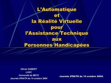 Outils d'Assistance pour la Réadaptation et l'Évaluation - IFRATH