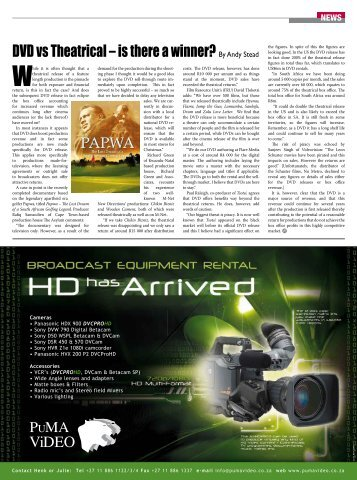 DVD vs Theatrical – is there a winner?By Andy Stead - Screen Africa