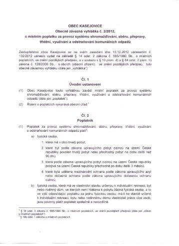 Obecně závazná vyhláška města Kasejovice 2/2012