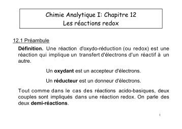 Chimie Analytique I: Chapitre 12 Les réactions redox