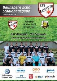 """""""Baunsberg Echo"""" Ausgabe 17 vom 18.5.2013 - KSV Baunatal"""