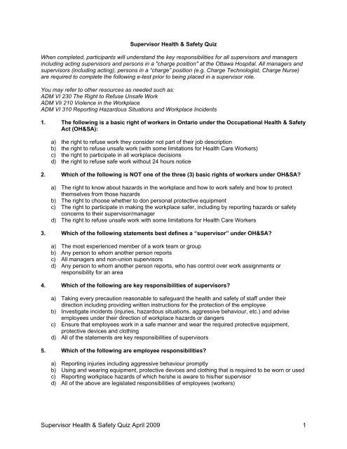 Quiz re supervisor fact sheet