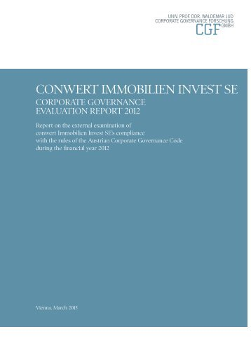 Corporate Governance Evaluation Report 2012 - conwert ...