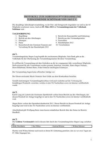 Protokoll der JHV 2012 - Turngemeinde Schötmar von 1863 e.V.