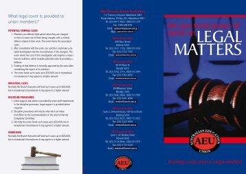 Download the Legal Matters leaflet - Australian Education Union ...
