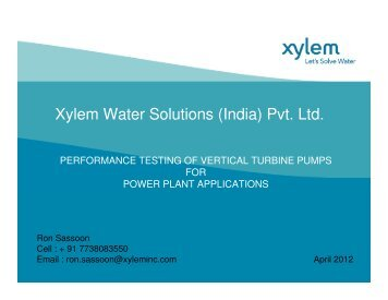 Xylem Water Solutions (India) Pvt. Ltd. - NPTI