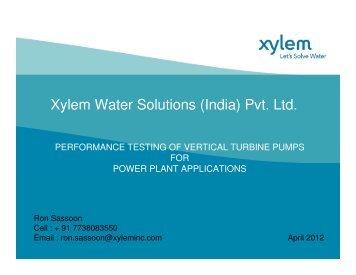 Xylem Water Solutions (India) Pvt. Ltd. - NPTI