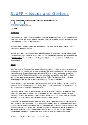 1 Bluff Issues and Options – Consultation – September 2012 Report ...